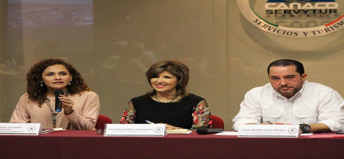 Se reúnen Presidenta Municipal Angelina Muñoz Fernández y Comisario Jorge Andrés Suilo Orozco con representantes de organismos empresariales en Hermosillo