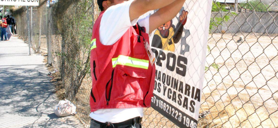 Arrancan operativo de retiro de pendones en Hermosillo
