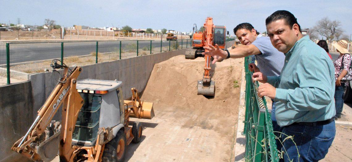 Preparados arroyos y canales de Hermosillo para las lluvias de Bud