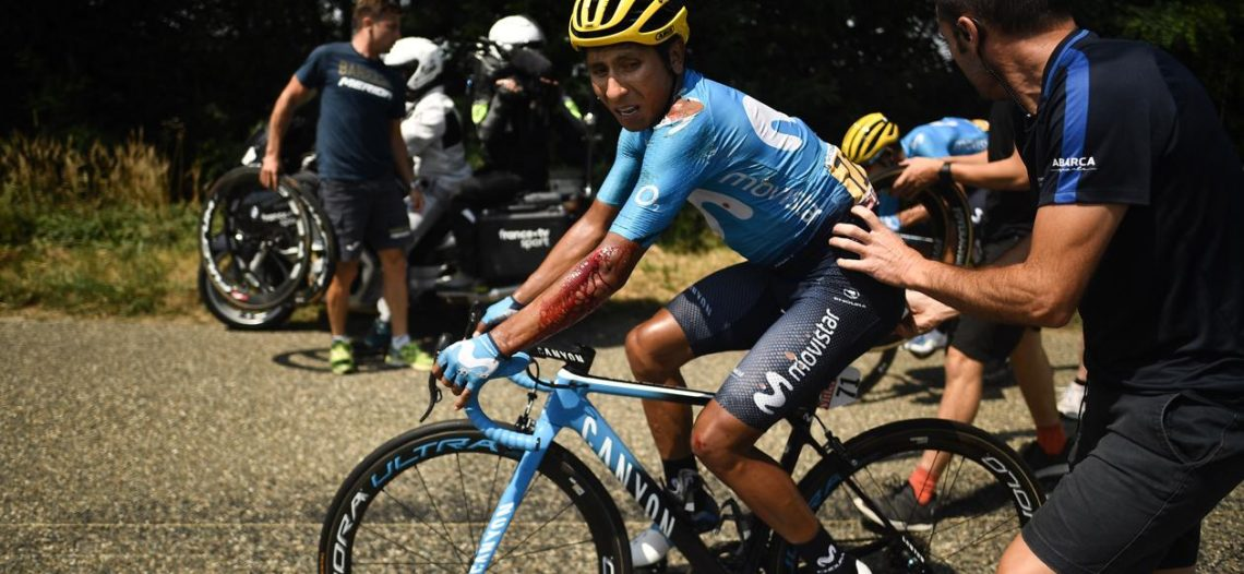 Nairo Quintana con golpes y heridas tras caída en el Tour de Francia